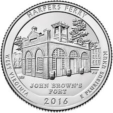 Quarter coin, USA 25 cents, Harpers Ferry National Historical Park, D, 2016