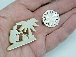 2 Antique Carved Mother Of Pearl 1 Scene 1 Star Pin Brooches