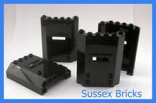 Lego - 4x Black Window with Slot Wall Panel 2x2x6 22387 Prison City - New Pieces