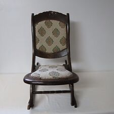 VINTAGE WOOD WOODEN FOLDING ROCKING CHAIR TAPESTRY UPHOLSTERY