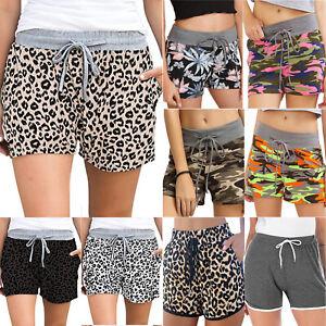 Women Drawstring Shorts Leopard Camo Hot Pants Summer Sports Casual Loungewear