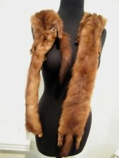 "VTG  4 PELTS  FOX /MINK ?, DARK BROWN FUR APPROX 77 ""LONG X 4"""