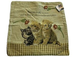"""Tapestry Cushion Cover Sham Cat Kittens 18"""" x 18"""" with Zipper Polyester/Cotton"""