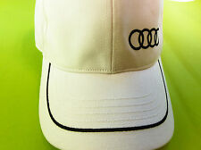 Audi Baseball Cap, Mütze Basecap Capy Schirm Mütze weiß,Logo+Streifen in schwarz