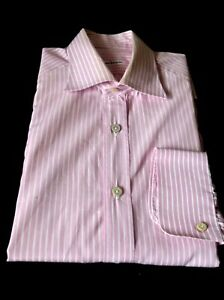 KIton Pink and White Striped Dress Shirt Long Sleeves Made in Italy  16 /41