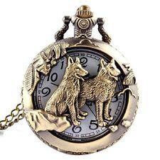 Bronze Animals Hollow Quartz Pocket Watch Necklace Pendant Women Men's Gifts