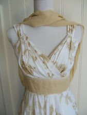 +*DIVINITY*+ 'FRESH' 'Summer Dress'  SIZE 8 . PURE COTTON 'WHITE with BRONZE'