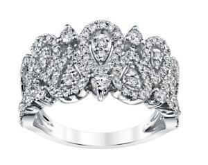 Diamond Anniversary Ring 1.41ct White 18k Gold Wide Band VS1