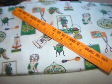 """VINTAGE 1950'S HEAVY COTTON CURTAIN FABRIC 4 YARDS BY 35"""" W """"A STITCH IN TIME"""""""