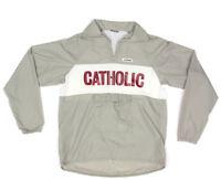 HIND Vintage 90s CATHOLIC Gray Windbreaker Half Zip Jacket size Medium USA
