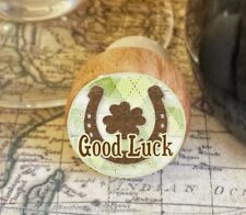 Wine Stopper, Good Luck Handmade Wood Bottle Stopper, St. Patrick's, Shamrock