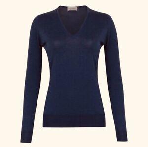 JOHN SMEDLEY Pure Ultra Fine Merino Wool Navy Blue V Neck Jumper £145 S*PERFECT*