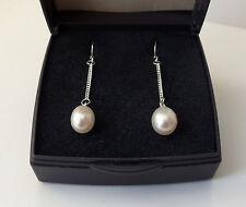 Sterling Silver Freshwater Pearl Chain Drop Earrings, 40mm x 6mm.