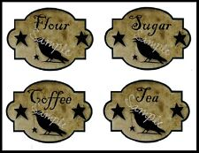 Primitive Canister Labels Pantry Crow Star Grungy Stickers 8 Total Sugar Coffee