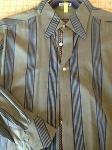 Robert Graham Mens Sz L Long Sleeve Button Up Shirt Striped Flip Cuff