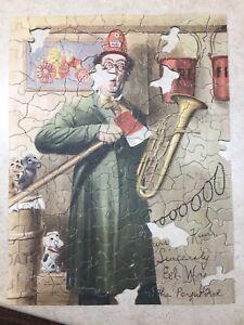 Vintage 1930's ED WYNN Picture Fire-Chief FIREMAN Viking Jigsaw Puzzle & Box