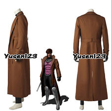 X-Men Remy LeBeau Gambit Cosplay Costume Overcoat Brown Long Coat Outerwear