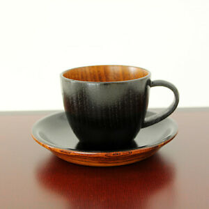 Coffee cup set Maru black, 200ml, lightweight,natural wood Lacquered, Urushi