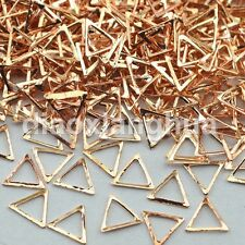 500PCS triangle 3D champagne gold metal Rhinestones For Nail Art tips Decoration