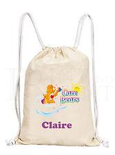 Personalised Childrens Girls Care Bears Drawstring Canvas Gym/ PE Bag