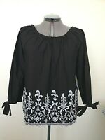 TIME and TRU Women's Black Top Size Large 12-14 Semi Loose black and white New