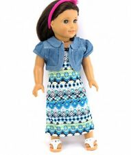 "Doll Clothes AG 18"" Dress Tribal Print Maxi Jacket Jean Fits American Girl Dolls"