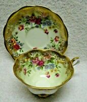 Royal Albert Portrait Series Green Interior Wash Roses Spray  Cup and Saucer