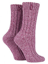 Jeep - 2 Pack Womens Thick Pink or Purple Wool Blend Knit Hiking Boot Crew Socks