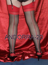 New Black Stockings With Contrast Red Seamed M/L