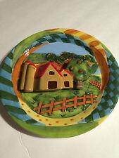 "Country Fruit Farm Barn 3D Plate 8"" Bella Casa Ganz ~ New Decor"