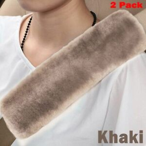 2 Pack Khaki Authentic Sheepskin Car Seat Belt Covers Soft Shoulder Pad Hot
