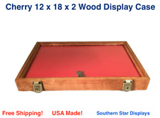 Cherry Wood Display Case 12 X 18 X 2 For Arrowheads Knifes Collectibles Amp More