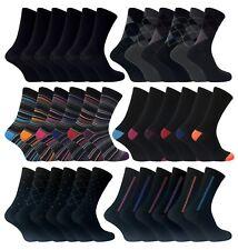 6 Pack Mens Patterned Colourful Striped Argyle Black Cotton Rich Dress Socks