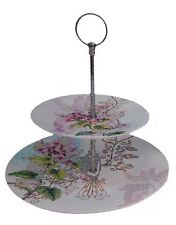 Modern Flower & Bird 2 Tier Ceramic Cake Cupcake Treat Serving Stand - BRAND NEW