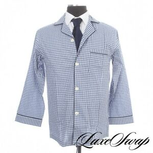 NWT Brooks Brothers Sky Blue Navy Piped Grid Plaid MOP Button 2PC Pajamas Set S