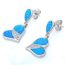 Blue fire opal & Cz Heart .925 Sterling Silver Earrings