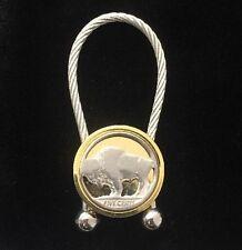 Vintage Buffalo Nickel Key Chain Key Fob Gold & Silver