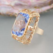 Ring mit synth. blauen Farbstein in 585/14k Roségold