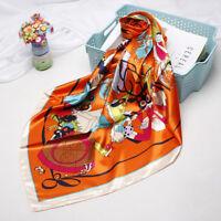"Women's Fashion Square Scarf Orange Monkey Print Satin Shawl Hijab Wraps 35""*35"""