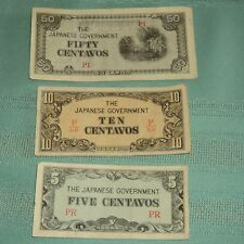 LOT OF THREE JAPANESE PAPER MONEY (A TOTAL OF 65 CENTAVOS)