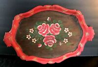 Vintage Tole Painted Wood Walnut or Oak Tray bright colors red green roses daisy