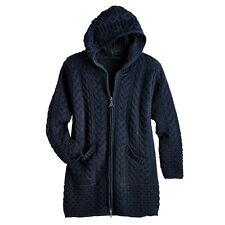 West End Knitwear Women's Hooded Cardigan Sweater - 100% Merino Wool Zip Front