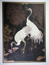 BEAUTIFUL VINTAGE ASIAN CHINESE CRANE WILDLIFE BIRDS LITHOGRAPH