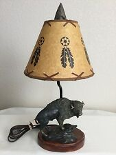 Country Western Southwest Nightlight Table Lamp Brown Heavy Resin w/Shade 18.5""