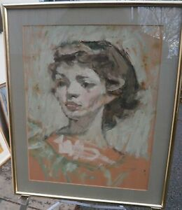 Young Woman Pastel Portrait Painting- 1970s- Lambro Ahlas