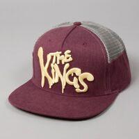 King Warriors Burgundy Yellow White Mesh Trucker Flat Peak Snapback Hat Cap
