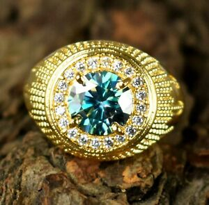 4.27 Ct  Green Diamond Round Solitaire Gold Finish Men's Ring