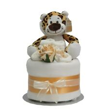 Nappy cake neutral unisex boy or girl baby shower  gift present soft toy leopard