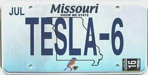 2016 Missouri Vanity license plate # TESLA 6