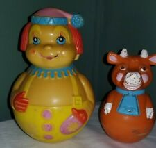 """Vintage """"The First Years"""" Clown Cow Roly Poly Toy- 1972 Chime Bell"""